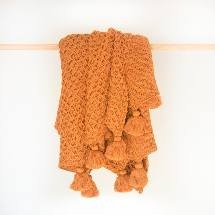 Bijou knitted throw Honeygold