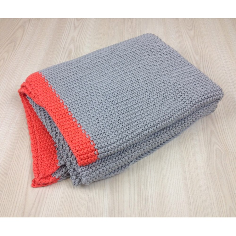 Grey with orange knitted Throw