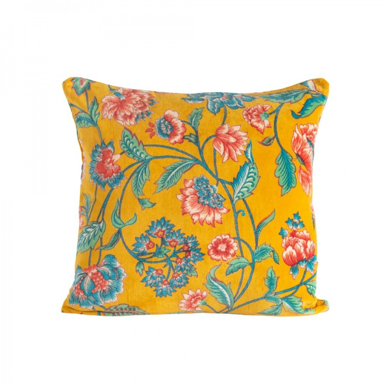 Gold Lily Velvet Cushion