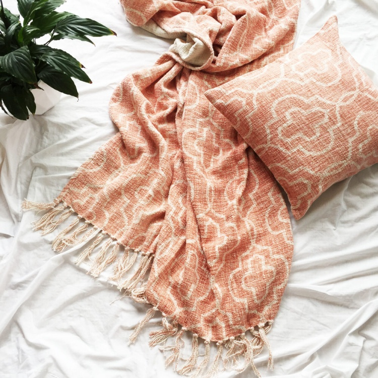 Dusty Pink Mosaic Throw