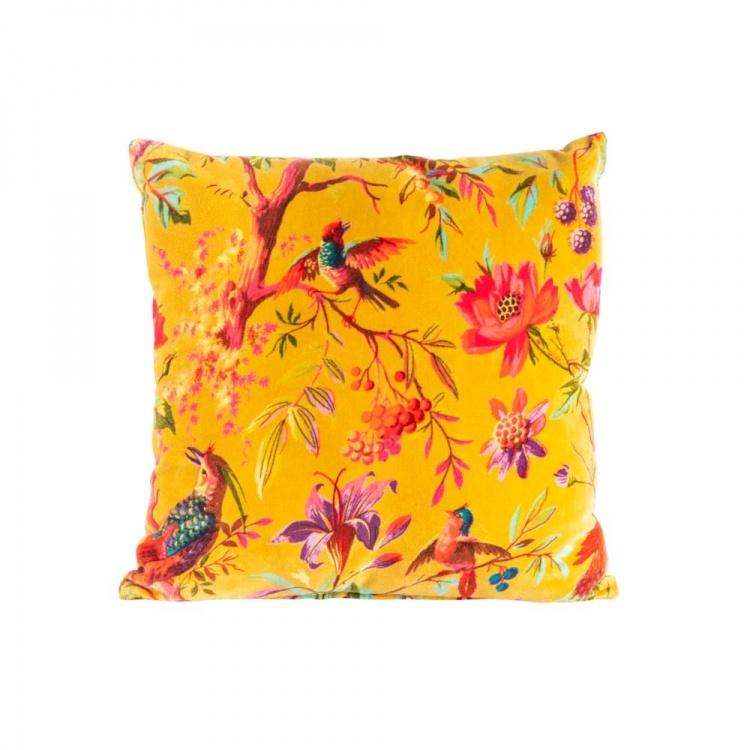 Ochre Paradise Velvet Cushion