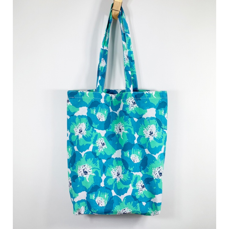 Turquoise Poppy Tote Bag