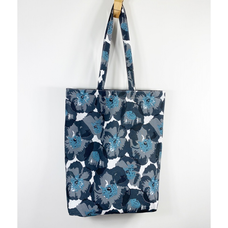 Charcoal Poppy Tote Bag