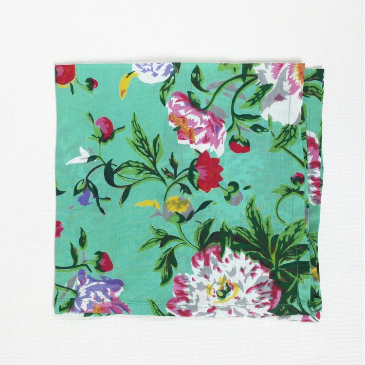 Spearmint  Green Floral Bloom Napkin