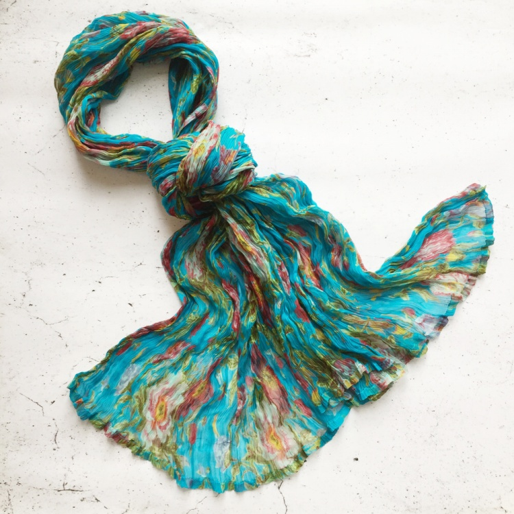 Turquoise Floral Chiffon Scarf