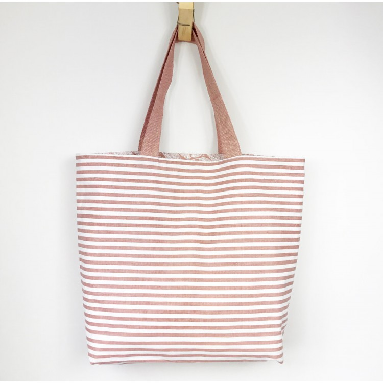 Hazelnut Striped Tote Bag