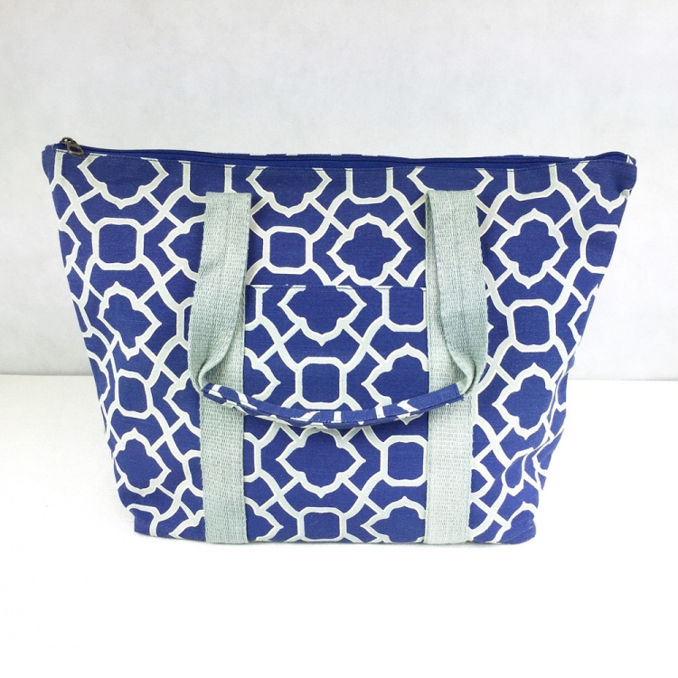 Navy Blue Trellis Tote Bag